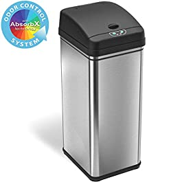 iTouchless 13 Gallon Stainless Steel Automatic Trash Can with Odor-Absorbing Filter and Lid Lock, Sensor Kitchen Garbage…