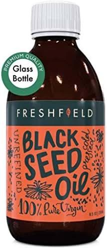 Freshfield Black Seed Oil: 3X% Thymoquinone (Black Cumin Seed Oil, Nigella Sativa) | Cold Pressed | Ultra Strength | Premium Liquid, Pure and 100% Natural. 8.5 oz Glass Bottle