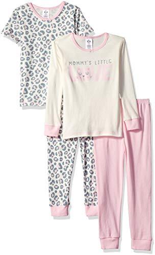 Gerber Girls' 4-Piece Pajama Set, Leopard, 5T
