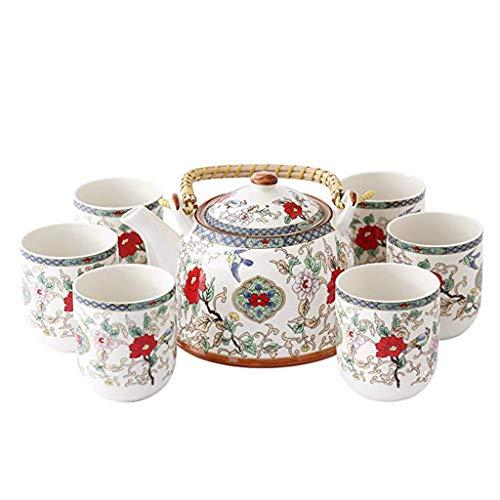 GLL Juego de té de cerámica de 7 Pedazos Jingdezhen, Sistema de té Chino Moderno de la Flor y del pájaro Pintado, para la...