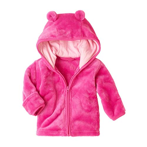 Jchen(TM) Clearance! Baby Infant Girls Boys Autumn Winter Cute Ear Hooded Coat Jacket Thick Warm Outwear Coat for 0-24 Months (Age: 0-6 Months, Hot Pink)