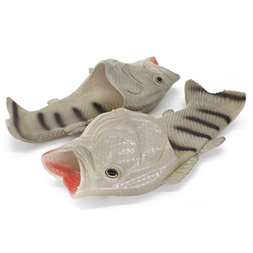 - Couple Fish Slippers for Men and Women Creative Funny Beach Cool Non-Slip Fashion House Sandals Outdoor (US 10.5-11-women/US 8.5-9-men, Silver)