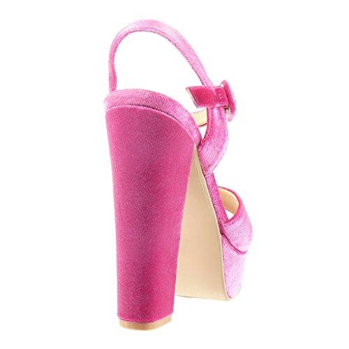 Angkorly - Scarpe da Moda sandali scarpe decollete zeppe sexy donna tanga Tacco a blocco tacco alto 14 CM - Fushia