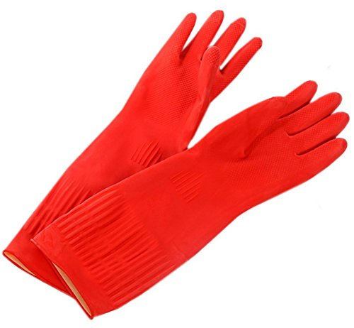 Waterproof Household Gloves Long Sleeve Fleece Cuff Latex Cleaning Gloves From Lesirit, 2 Pair Pack (B)