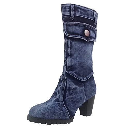 3 Inch Rubber Heart - Aniywn Women's Mid Calf Denim Boots Chunky High Heels Boots Zipper Buckle Combat Boots Shoes(Blue,36)