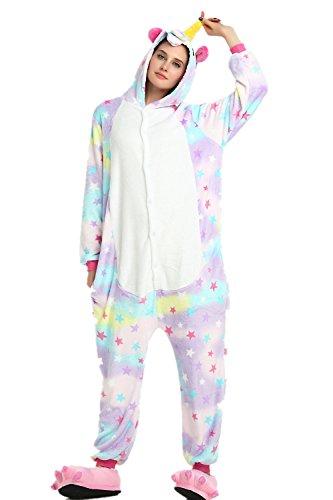 Missley Unicorn Pajamas Unisex Adult Pajamas Animal Cosplay Halloween Christmas Costumes (XL, Star)