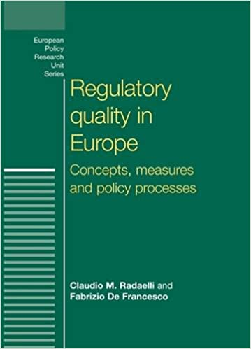 Download online Regulatory Quality in Europe: Concepts, Measures and Policy Processes (European Policy Studies) PDF, azw (Kindle), ePub