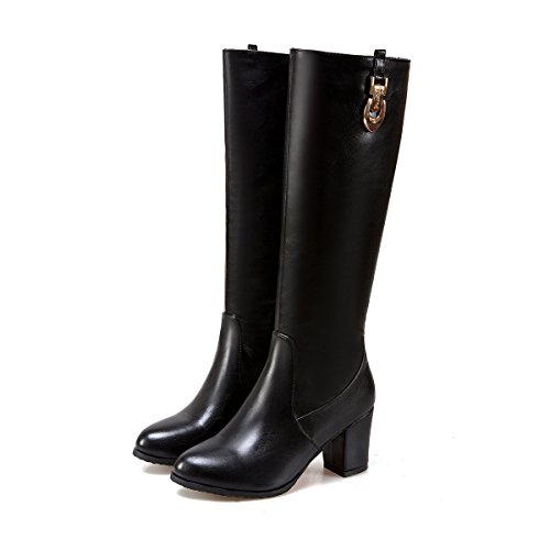 DecoStain Women's Buckle Patent Leather High Heel Zipper Knee High Boots Black Orf5VC