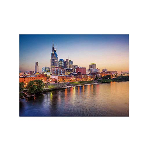 C COABALLA United States Heat Resistant Table Mat,Cumberland River Nashville Tennessee Evening Architecture Travel Destination for Dining,15.7