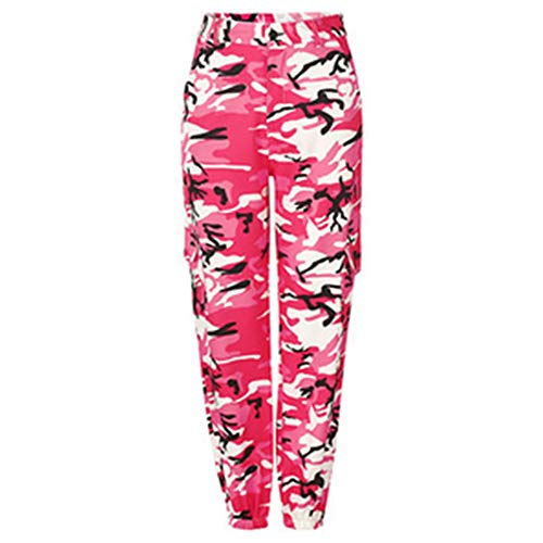 - RUEWEY Women High Waist Hip Hop Dance Tapered Cargo Jogger Pants Trousers Harem Baggy Jogging Sweatpants (L, Camo Pink)