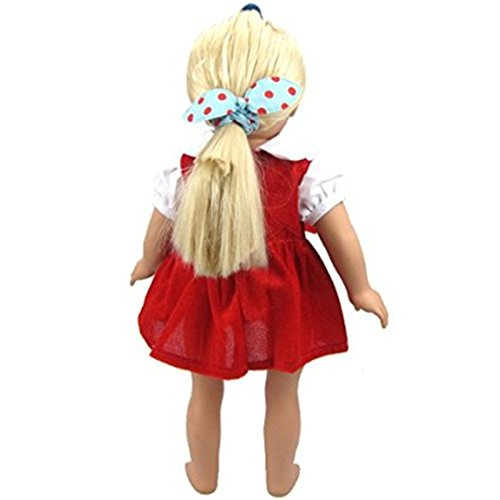 a793f86925e9 JELEUON Cute Baby Beautiful Red Velvet Doll Dresses Clothes 16-18 ...