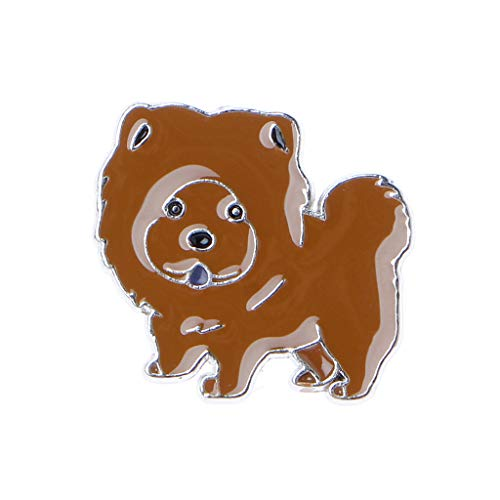 GMSP Pet Shape Brooches Pins Cute Puppy Husky Corgi Dogs Enamel Jewelry Children Kids Gifts (Chow)