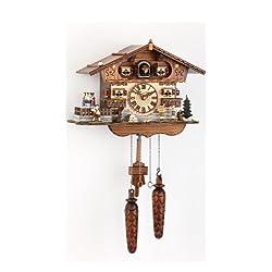 Trenkle Quartz Cuckoo Clock Swiss House with Music, Turning Dancers TU 447 QTM HZZG