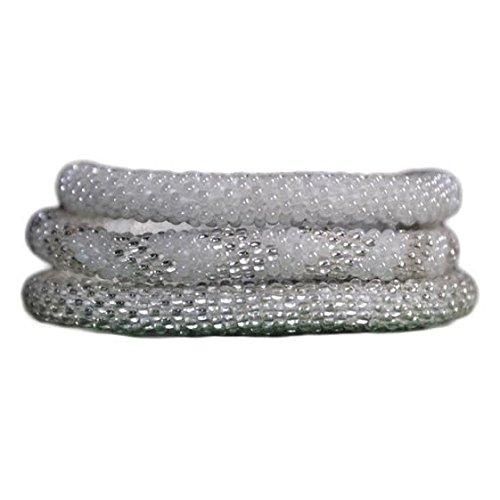 White and Silver Handmade Beaded Bracelets Set,Seed Beads,Nepal,BS527