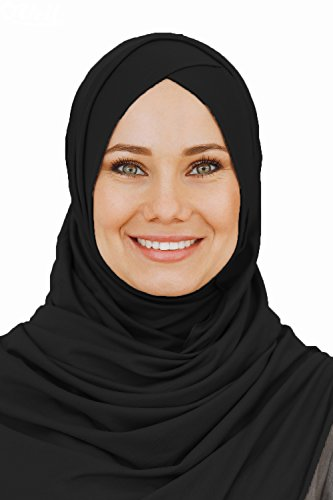 Cotton head scarf, instant black hijab, ready to wear muslim accessories for women (Black) by VeilWear (Image #1)