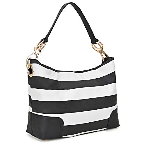 (Classic Women Hobo Shoulder Bag Ladies Tote Purses Handbag with Big Snap Hook (Large-Black and White))