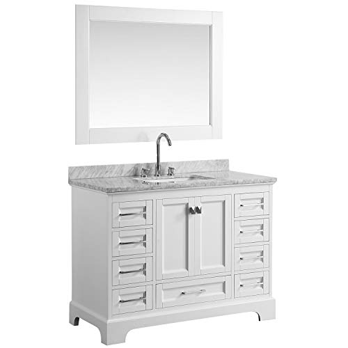 "LC48JWW Chole 48"" Single Sink Bathroom Vanity Set in White with Carrara Marble Top and Mirror,"
