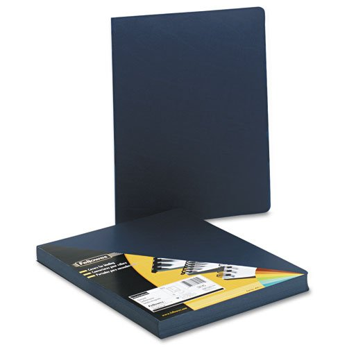 Fellowes Executive Presentation Binding System Covers, 11-1/4 x 8-3/4, Navy, 50/Pack - Fellowes Leather