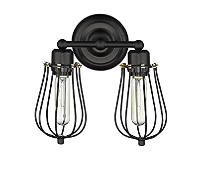 YOBO Lighting Industrial Edison Mini Black Wire Cage Wall Sconce