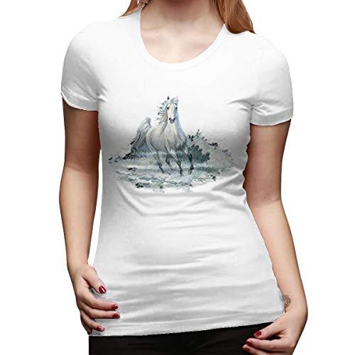 Water Stallion T-shirt - PerfectMeet Majestic White Stallion Horse Galloping Through Water Foal Colt Tshirt XXL