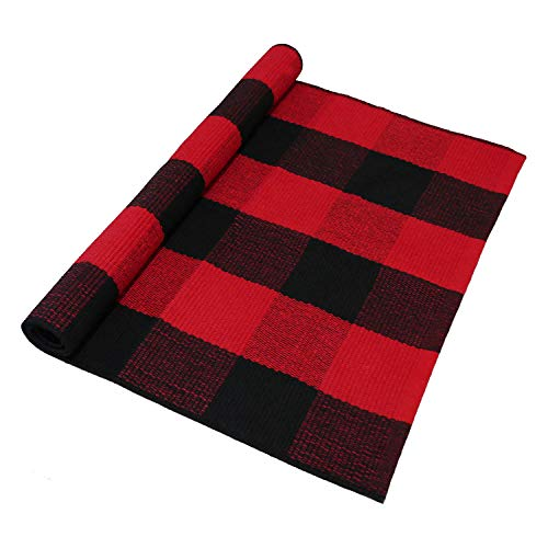 Everyday Homes Inc. RugTech Buffalo Check Outdoor Plaid Rug for Kitchen Bathroom Bedroom Living Room Laundry Porch Area Rugs 2' x 3' Door Mat Washable (Red and Black) (Porch Area)