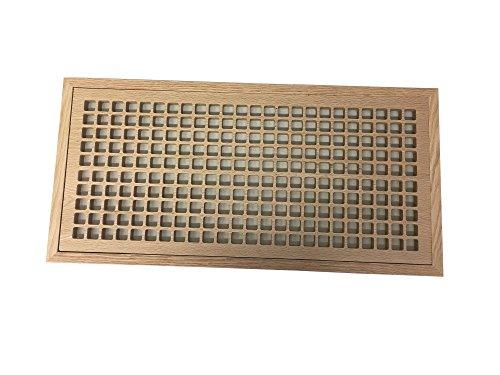 10 Inch x 24 Inch White Oak Hardwood Vent Floor Register Flush Mount with Frame, Eggcrate Style, Unfinished