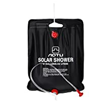 Ezyotudoor Solar Shower Bag,5 gallons/20L Solar Heating Premium Camping Shower Bag with Removable Hose and On-off Switch-able Shower Head Ideal for Camping Hiking Fishing Hunting Beach Trips