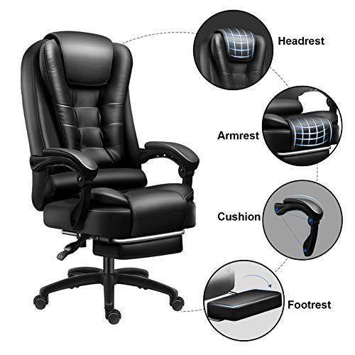 Spelstol med fotstöd PU-läder kontor verkställande stol justerbar avlastning med nackstöd ländrygg stöd datoruppgift stol