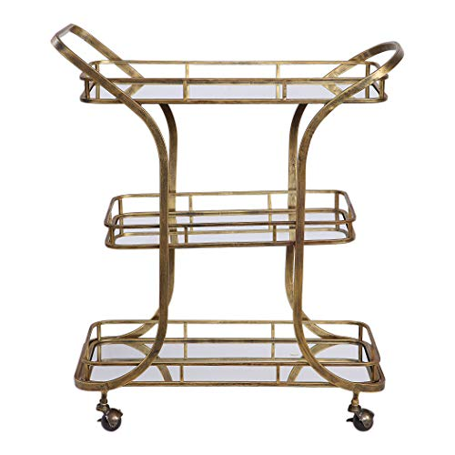 My Swanky Home Retro Mid Century Tiered Gold Serving Bar Cart | Mirrored Shelves Rolling ()
