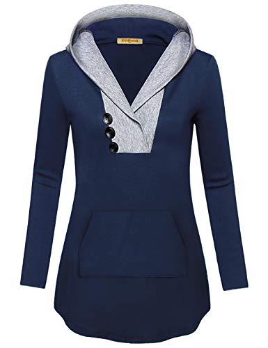 Baikea Light Hoodie Women, Laides Cowl Neckline Raglan Sleeve Attached Hood Sweatshirt Nice Quality Beautiful Silhouette Strechy Smooth Classic Jersey Knit Top Navy Blue L ()