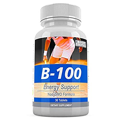 B-100 Energy Support - B-Complex Vitamin Supplement - B1, B2, Niacin (B3), B6, Folic Acid, B12, Pantothenic Acid (B5), Biotin, Choline, Inositol - Maintain A Healthy Clean Lifestyle with Less Fatigue