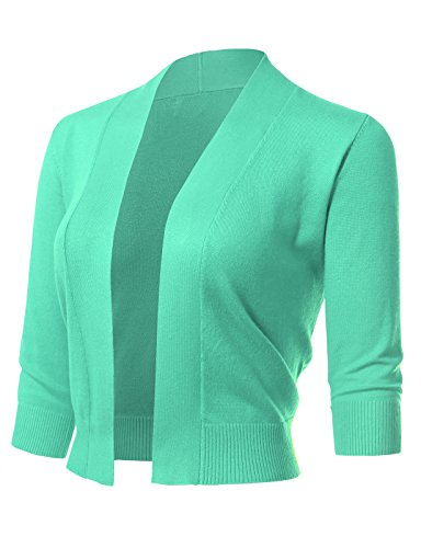 Sleeve Open Front Cardigan - ARC Studio Women's Classic 3/4 Sleeve Open Front Cropped Cardigans, Mint, X-Large