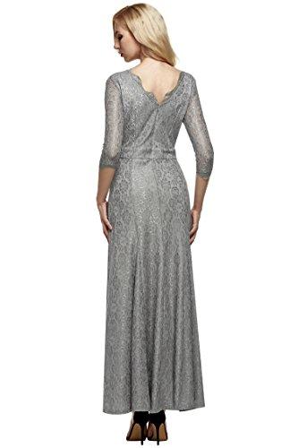 Teamyy Vestido de encaje con 2/3 manga vestido de fiesta boda y cóctel para las mujeres Gris