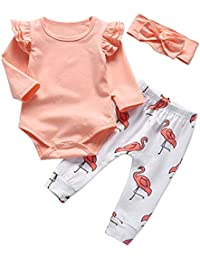 Baby Girl Clothes Pink Ruffle Long Sleeve Tops Flamingo Pants with Headband Bodysuit Outfits Sets