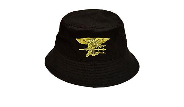 Amazon.com  Military Navy Seal Logo 100% Cotton Black Bucket Cap Hat ... a2c476b8399