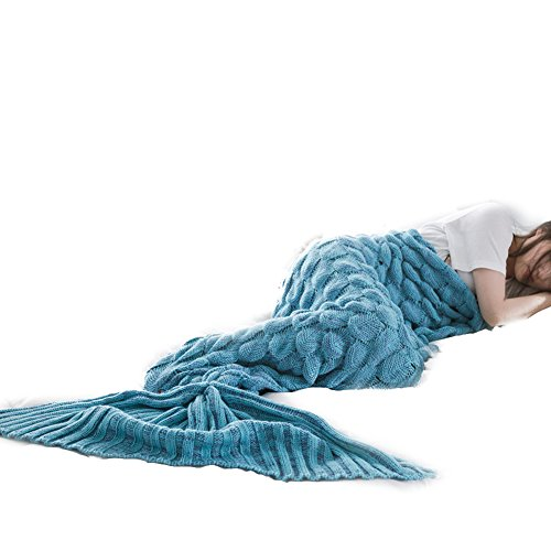 S-D Mermaid Blanket, Super Soft Girls Toys All Season Sofa Sleeping Bags Crochet throw any Girl Tail Blankets for Adults (Blue - 10 - 74.8'' x