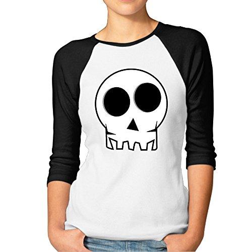 Women's Cute Cartoon Skull Clip Art Awesome Baseball Tees Fitted Shirts