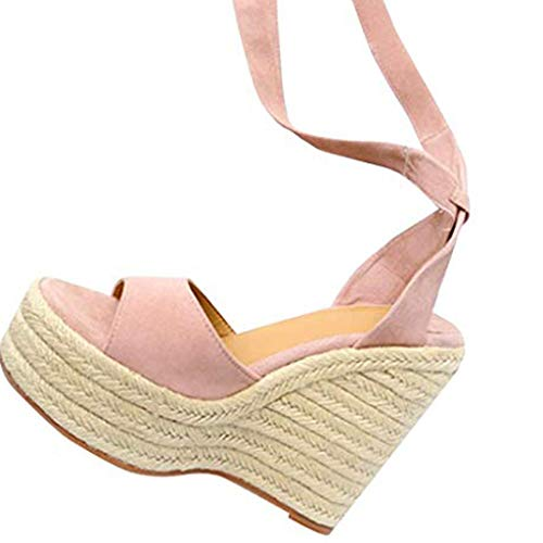Womens Platform Espadrille Wedges Sandals Lace Up Ankle Strap Open Toe Heeled Sandals Slingback Shoes Pink