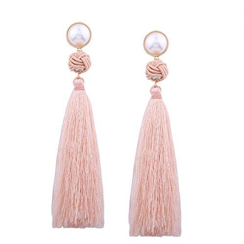 It Drop Bangles (Clearance Deal! Hot Sale! Earring, Fitfulvan 2018 Vintage Women Bohemian Fashion Weave Tassel Earrings Long Drop Mother's Day Gifts Earrings Jewelry (Pink))