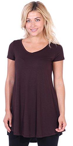 Popana Women's Tunic Tops for Leggings Short Sleeve Summer Shirt Made in USA X-Large Brown