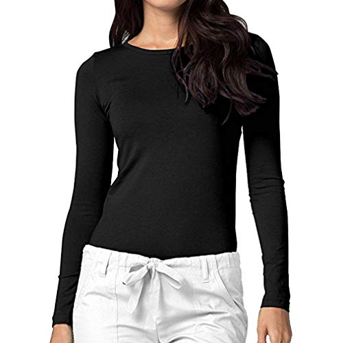 Sunhusing Womens Long Sleeve Solid Color O-Neck Bottoming Shirt Comfort Slim Casual Tee Blouse Top