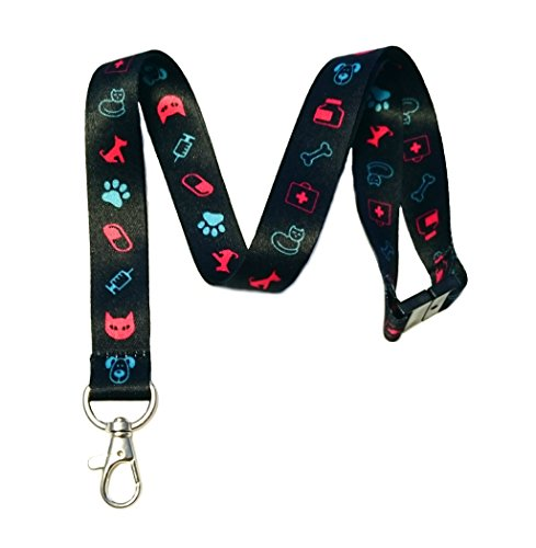 Break Away Veterinarian Print Lanyard Key Chain Id Badge Holder