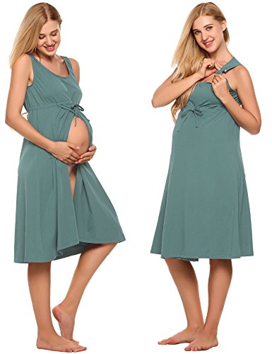 Ekouaer Labor Gown Women's High Waist Maternity Clothes with Drawstring(Misty Rose,XXL) - Drawstring Gown