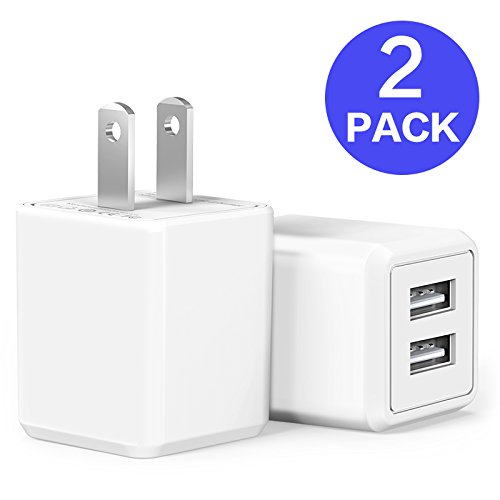 USB Wall Charger,Charger Adapter, Atizzy 2-Pack 2.4Amp Dual Port Fast Charger Plug Cube for iPhone X 8/7/6 Plus SE/5S/4S,iPad, iPod, Samsung, LG, HTC, Huawei, Moto, Kindle and More… - Mains Usb