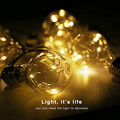 Isyunen Solar String Lights Outdoor Waterproof 14 FT Solar Outdoor String Lights LED Solar Powered String Lights Bulbs for Patio, Outdoor/Indoor Garden Home Holiday Decorations(Warm White) : Garden & Outdoor