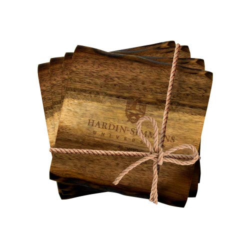 - CollegeFanGear Hardin Simmons Acacia Wood Coaster Set 'Alumni Vertical Engraved'
