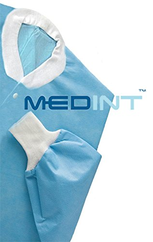 Disposable Lab Coat With Knit Cuffs, Waist Length Coat (Size Medium) Pack of 10 Gowns Waist Length Disposable Gown …