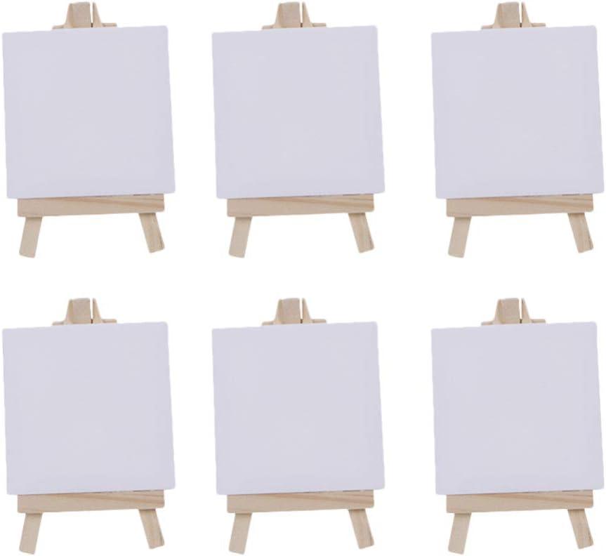 Toyvian - 12 mini lienzos blancos con caballete de madera para pintar artistas, negocios, bodas, decoración de Navidad: Amazon.es: Hogar
