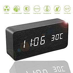 Digital Alarm Clock Wooden LED Desktop Clock 12 Hours 24 Hours Format and Brightness Adjustable Bedroom, USB Port and Backup Battery Powered for Clock Settings (Black)
