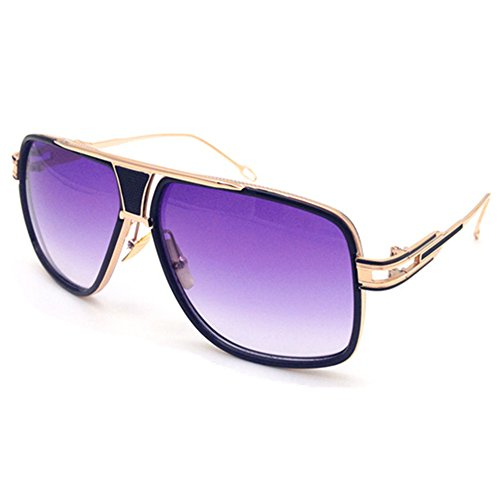 Gobiger Aviator Sunglasses for Men 100%UV Protection Goggle Alloy Frame (Gold Frame, Gradients - Gold Sunglasses And Purple